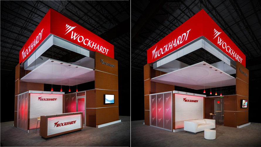 Modern, elegant trade show exhibit for Wockhardt-NACDS