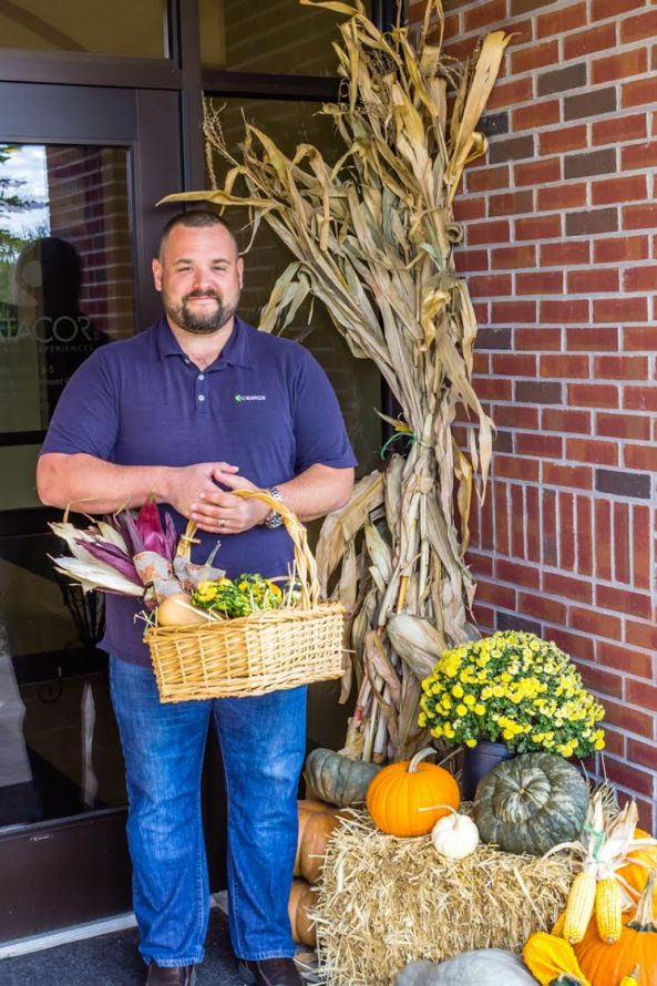 Chuck with a basket from Hanehan's Family Farmstand