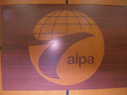 ALPA logo - CNC laminate inlay