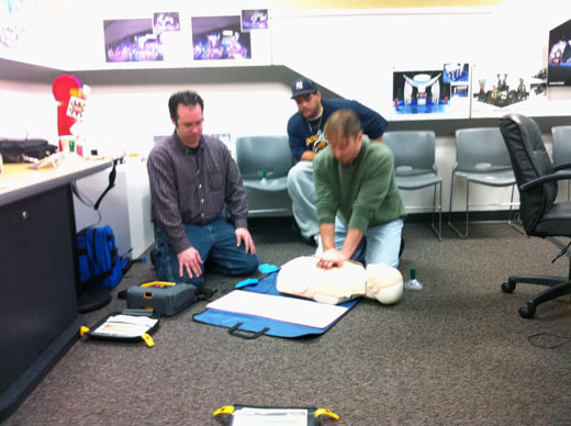 Creatacor staff members taking the AHA HeartSaver AED Certification Course