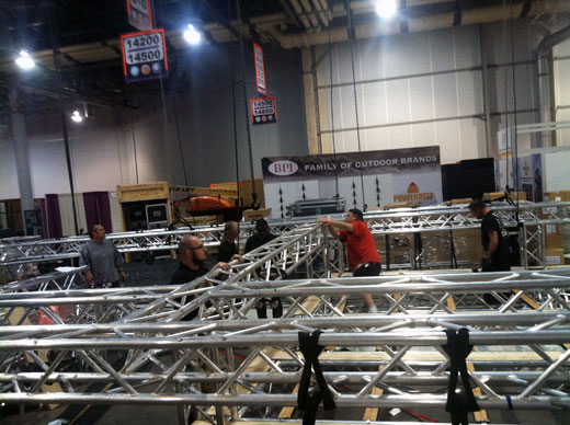 Setup of Otis Technology's 2012 Shot Show exhibit