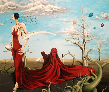 Painting of woman red dress