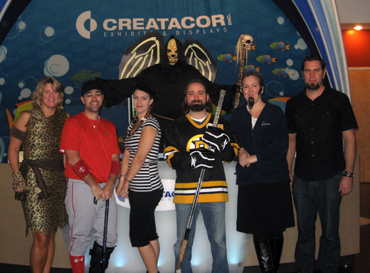 Group with hockey player