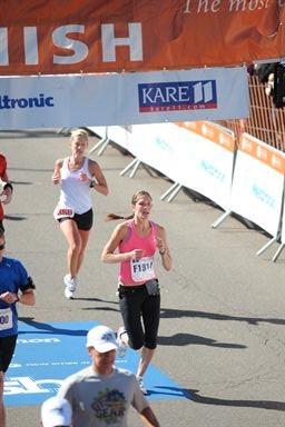 Runner finishing race
