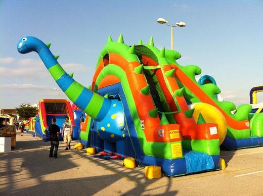 Dinosaur jumper and party slide