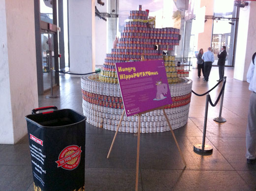 Stack cans on display