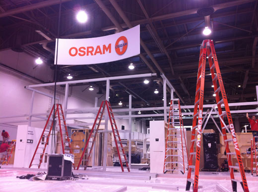 OSRAM booth under constructiuon