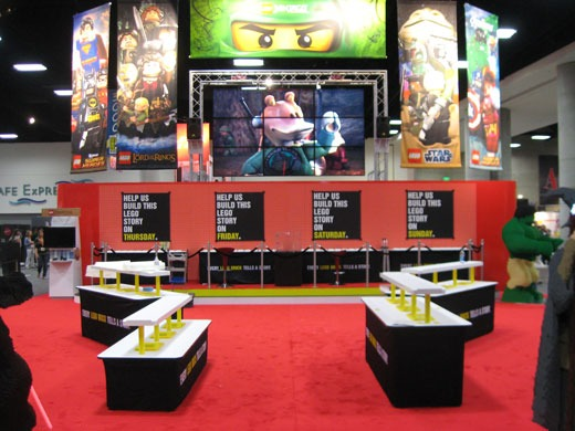Lego trade show booth with red carpet
