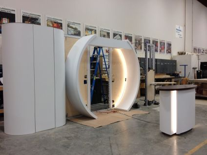 Trade show booth under construction