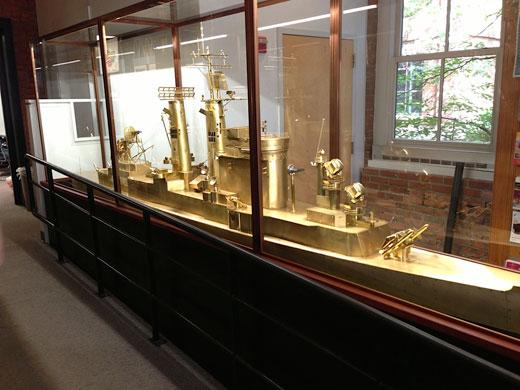 Model ship in display case