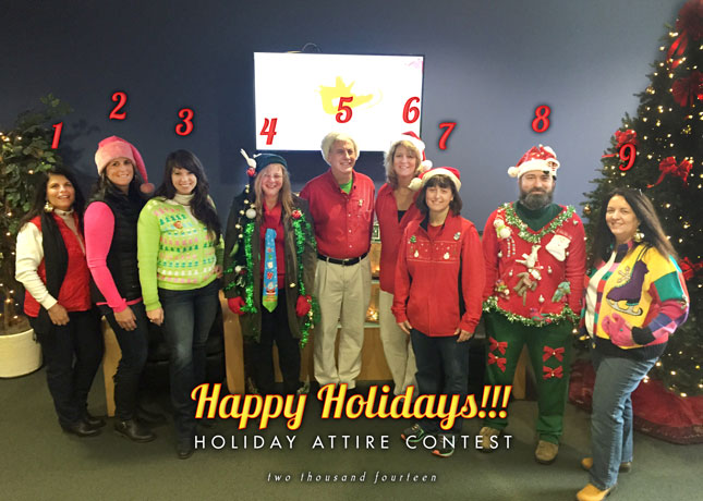 Which holiday getup is your fav? Vote below: 1. Linda 2. Jean 3. Amy 4. Christine 5. Will 6. Cathy 7. Tracy 8. Jerremy 9. Mary Beth