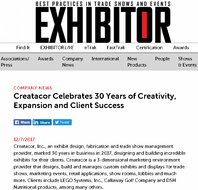 30 Years - Creatacor in Exhibitor Magazine