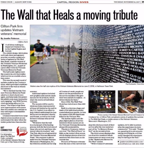 The Wall That Heals, Creatacor, Times Union