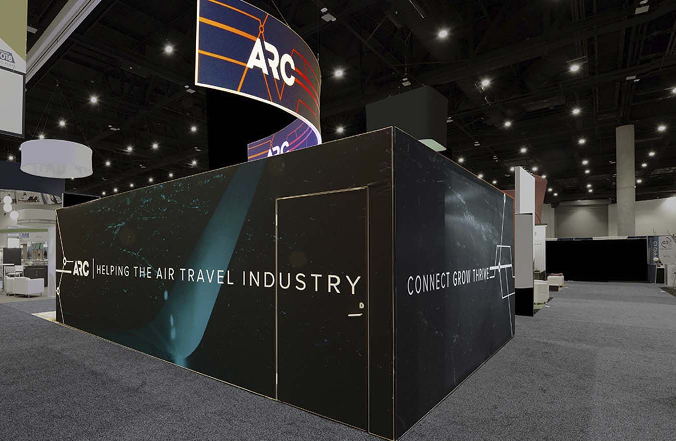 wall art on tradeshow booth with door