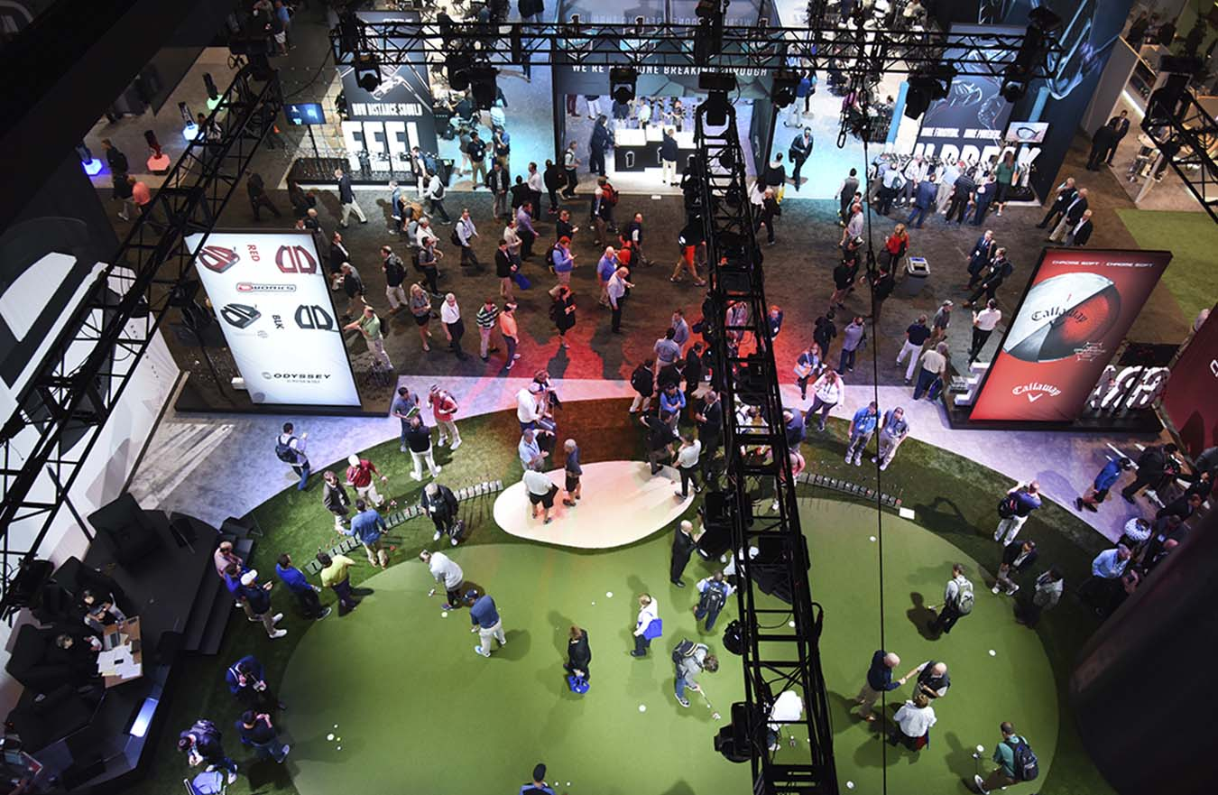 overhead view of putting green display