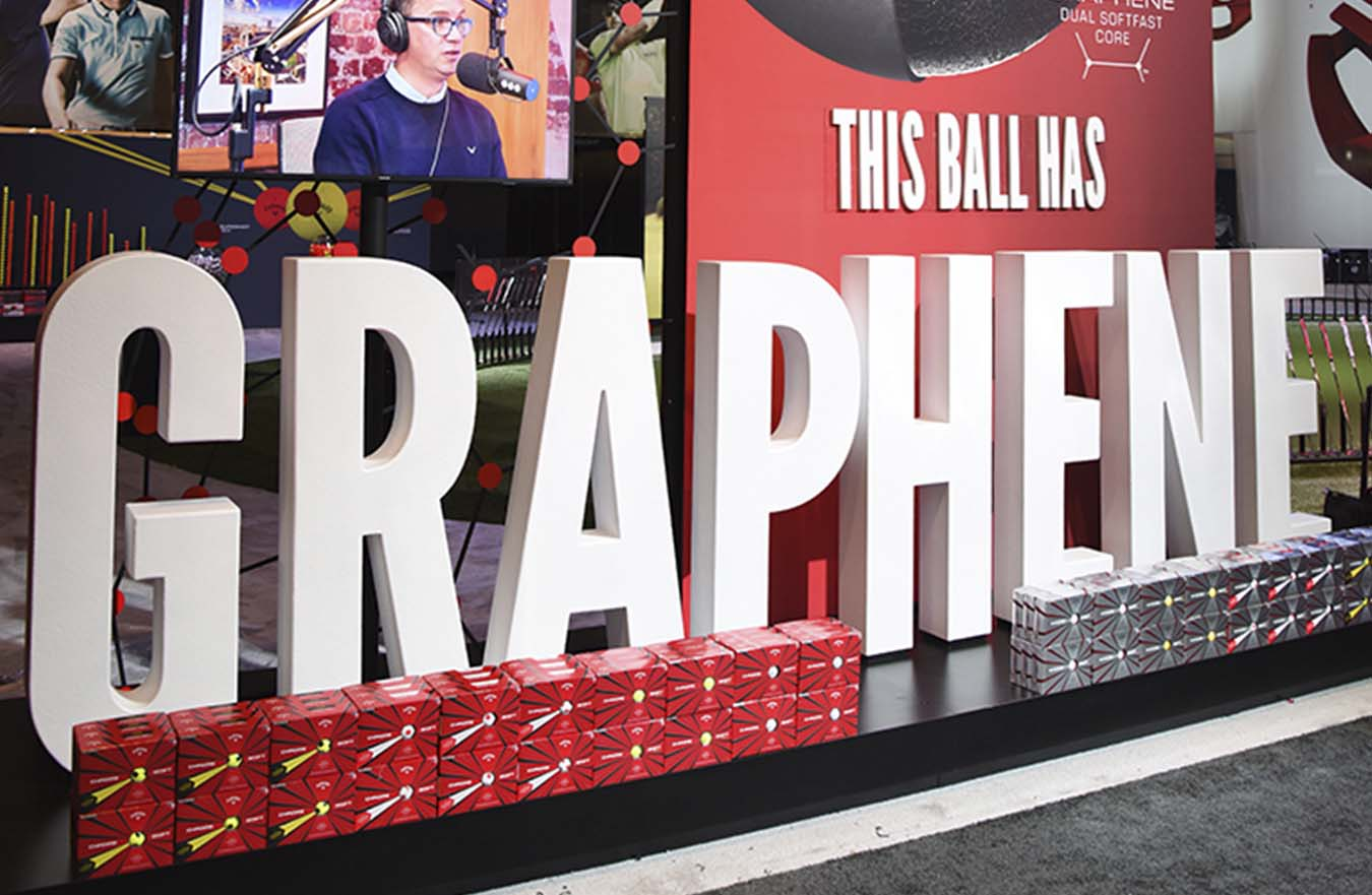 this ball has graphine golf tradeshow display