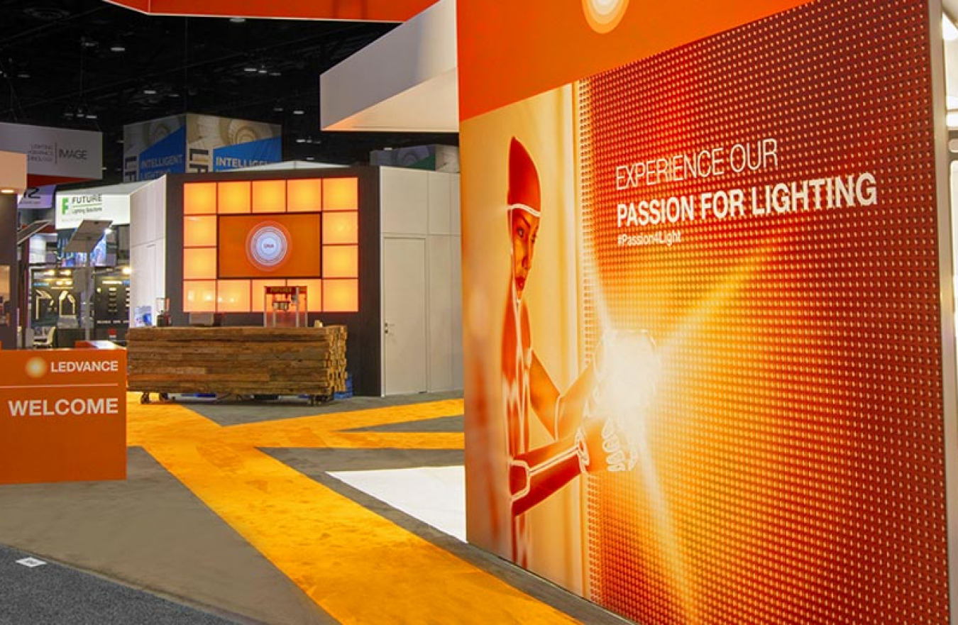 tradeshow display for light manufacture