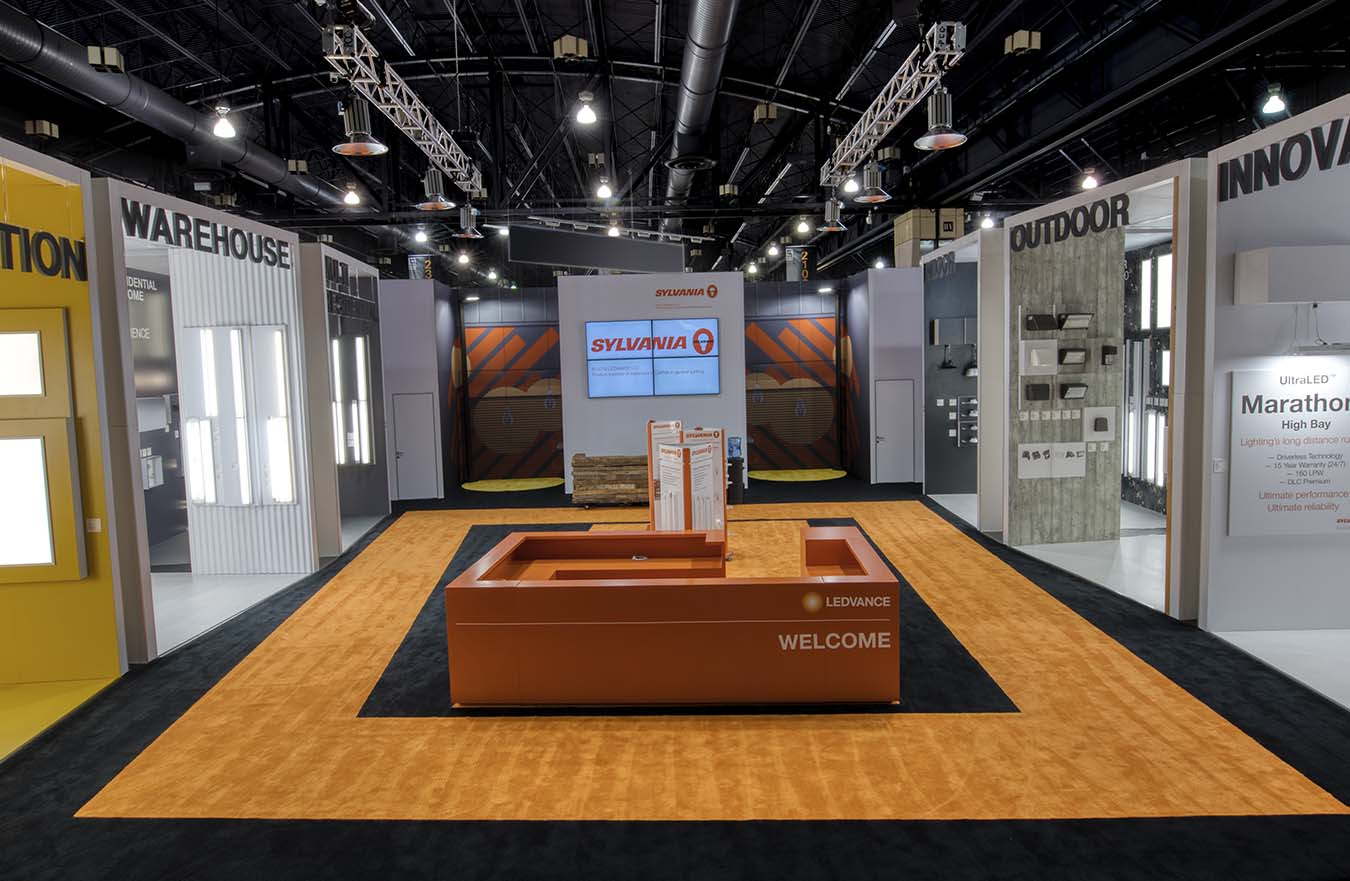 large tradeshow display for lighting company
