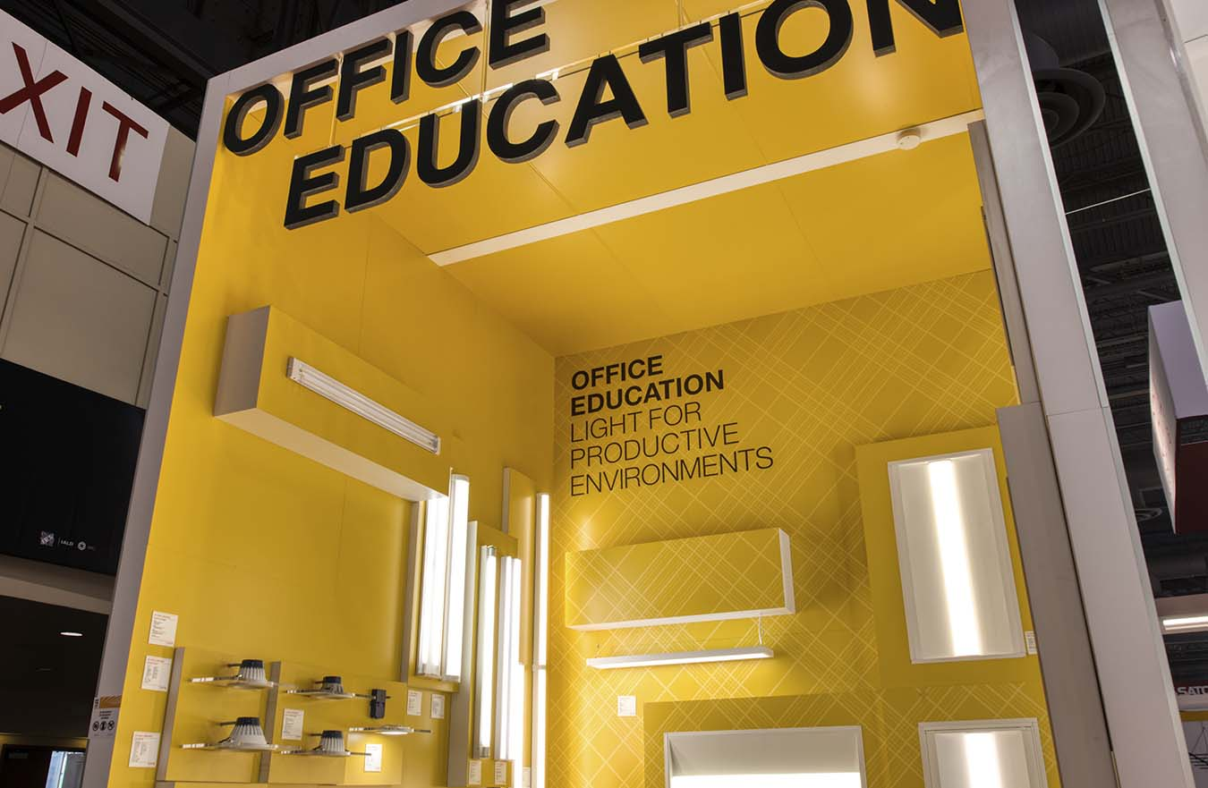 office lighting options in yellow display booth