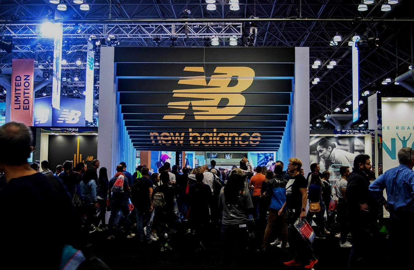new balance display with large crowd