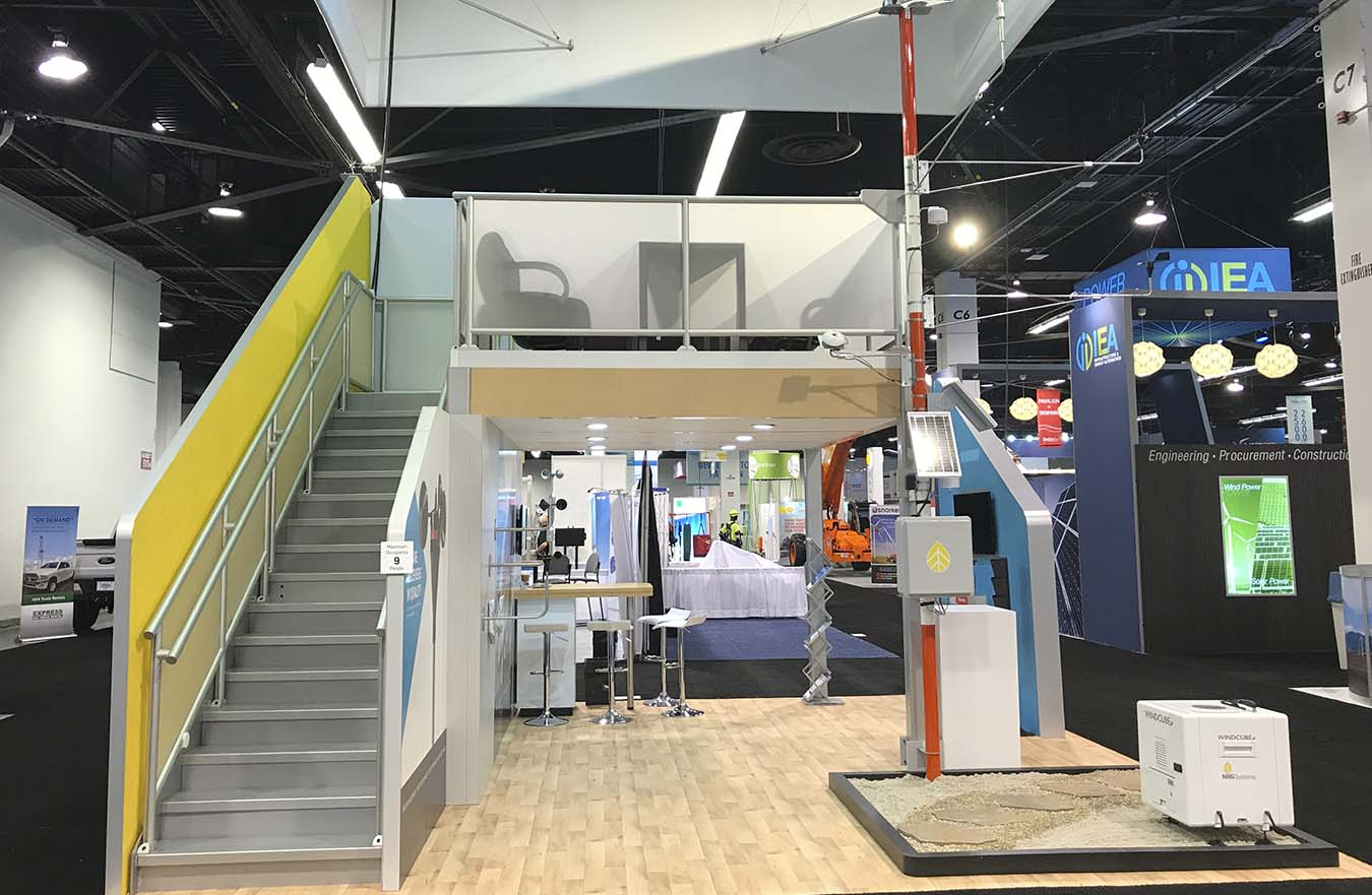 2 story trade show display with stairs