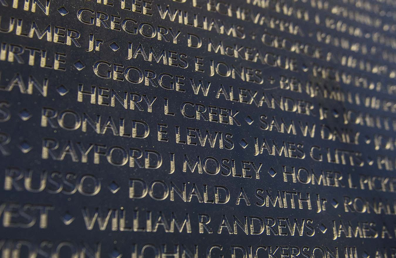 Close up of names on wall