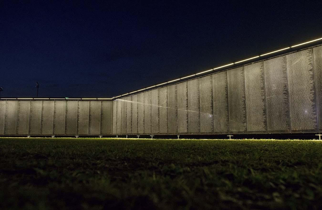 Vietnam Veterans Memorial Wall at night