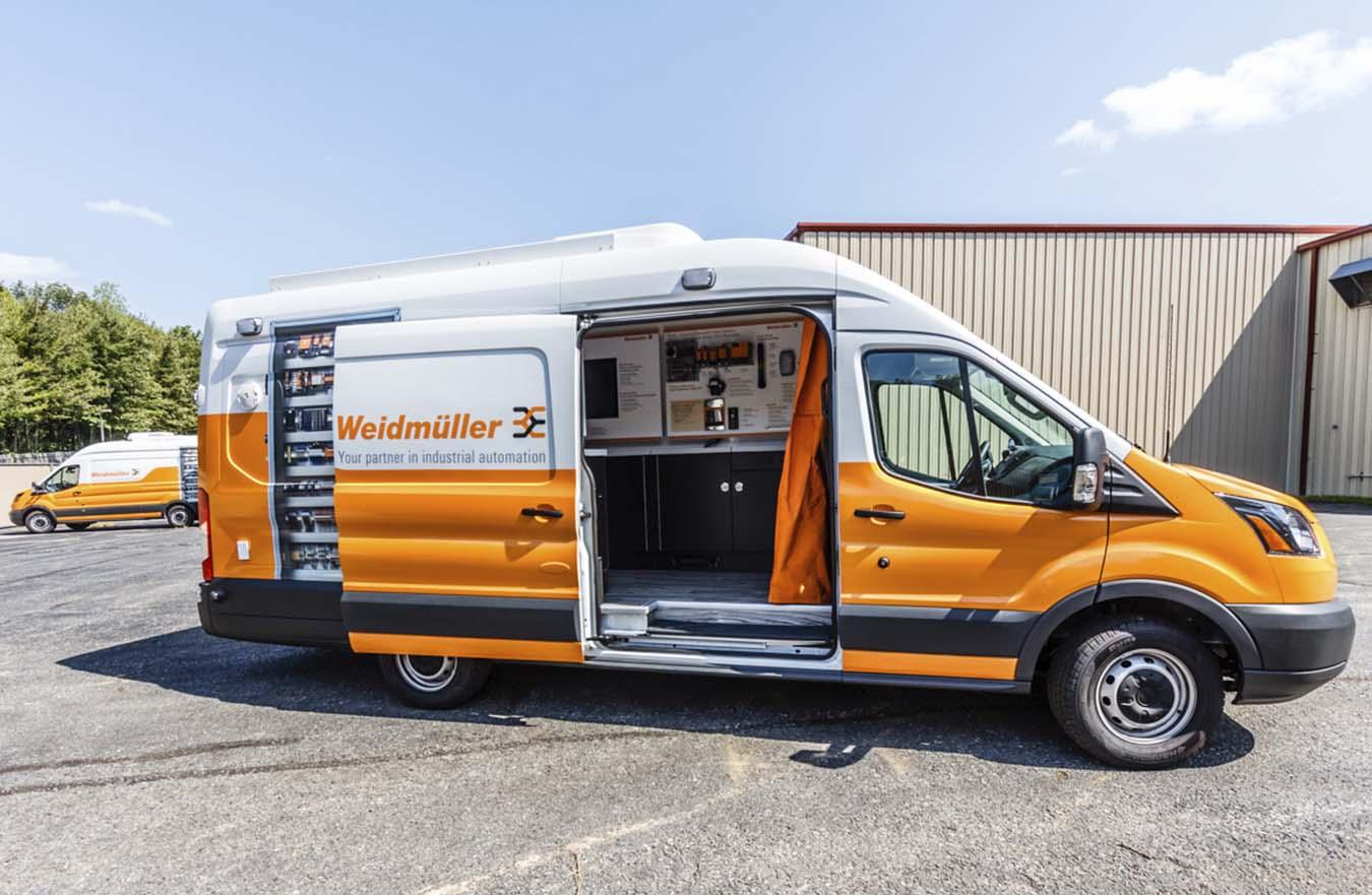 side door open on custom graphic van