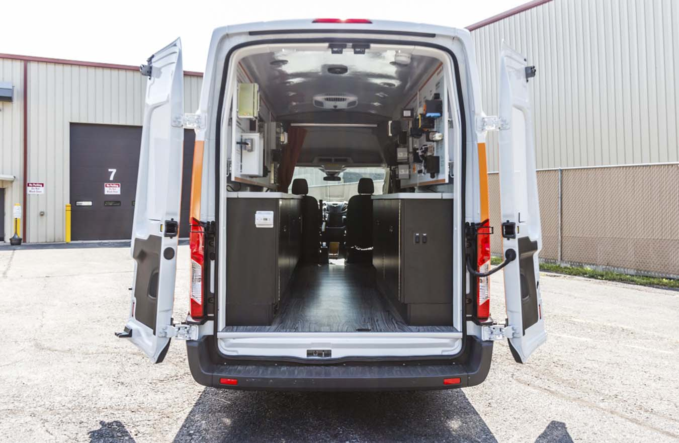 Back of Commercial van with door open