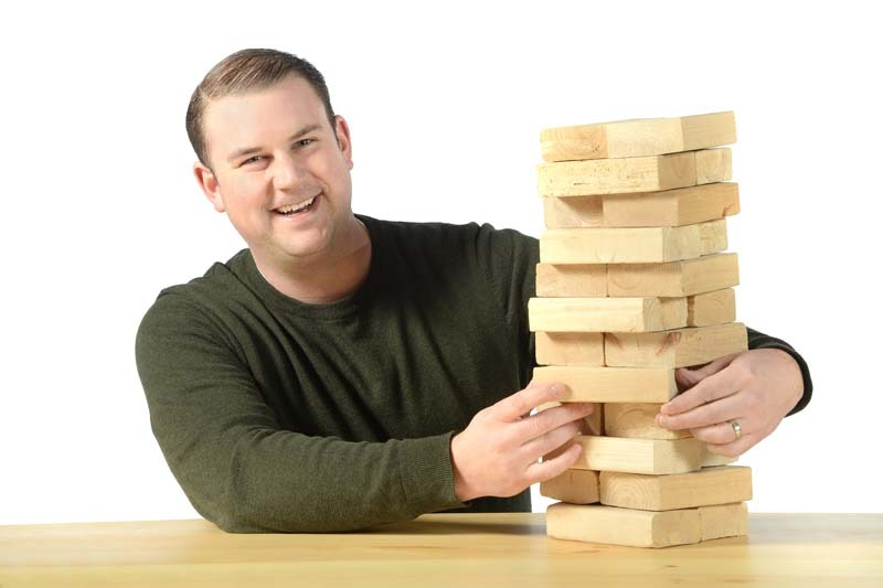 Andrew Little Account Executive with stack of blocks