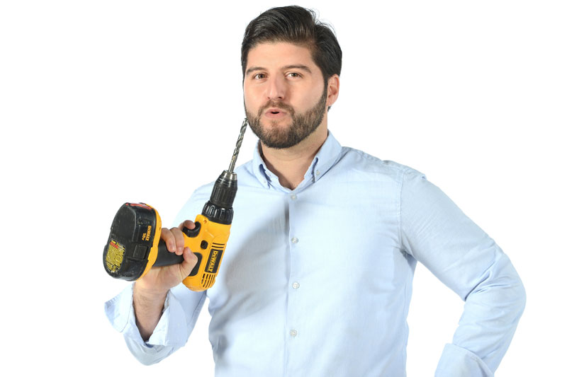 Jordan Mclagan holding drill