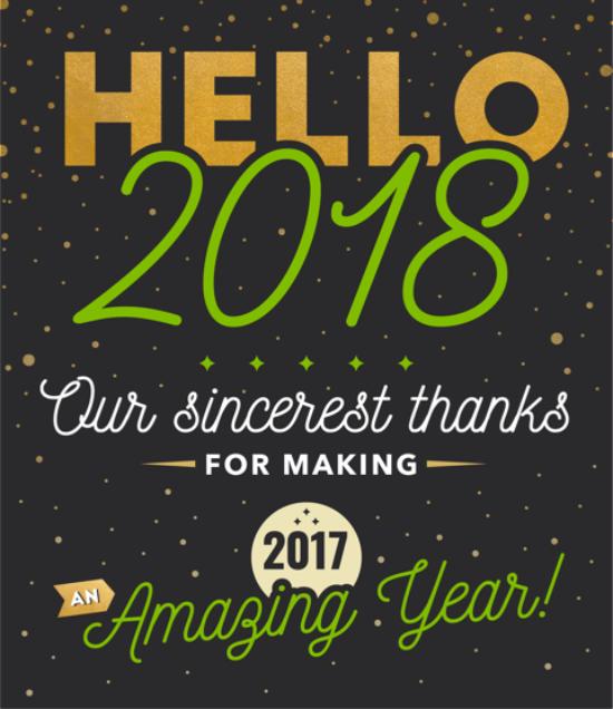 hello 2018 new year banner