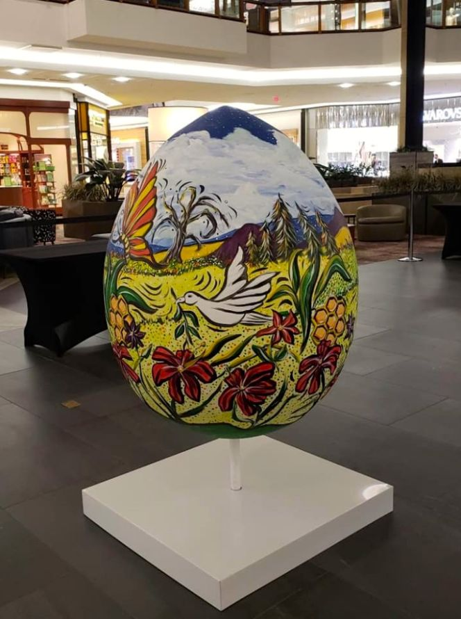 Large painted Easter egg