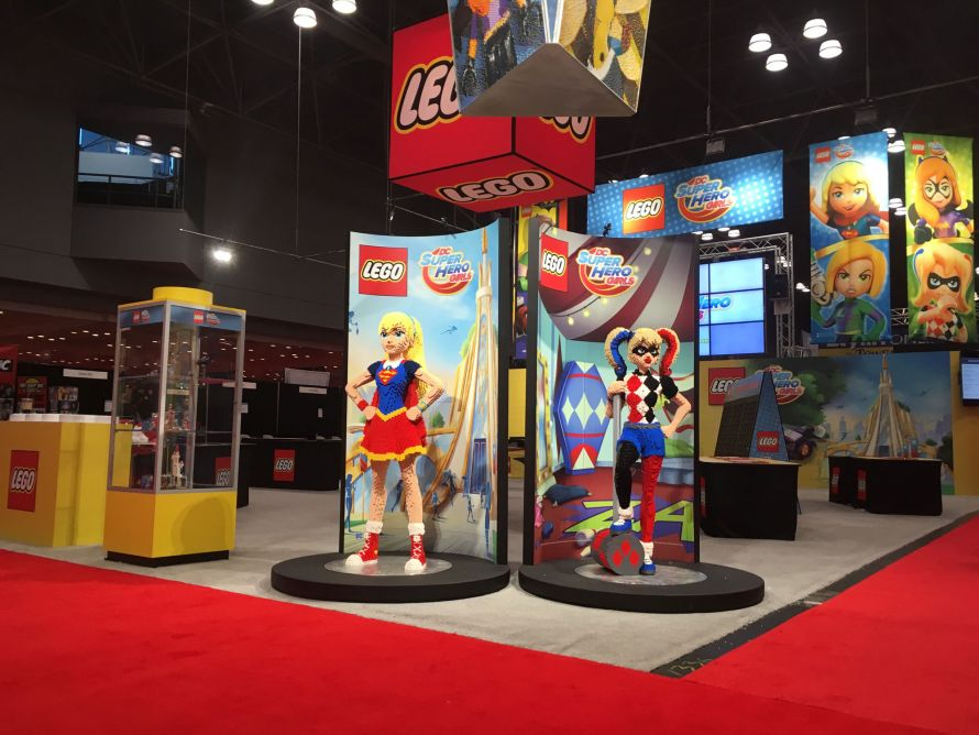 lego superhero girls tradeshow display