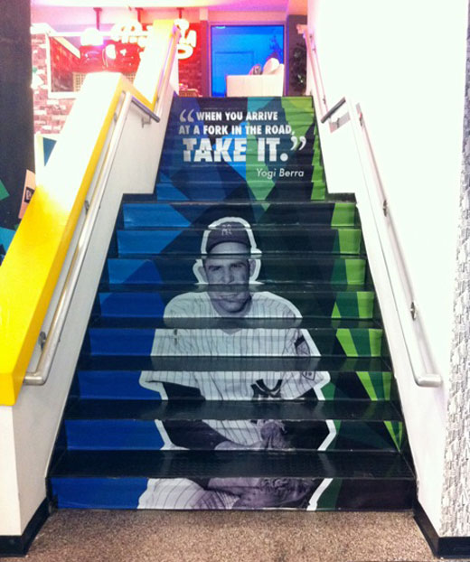 yogi berra photo on stairway