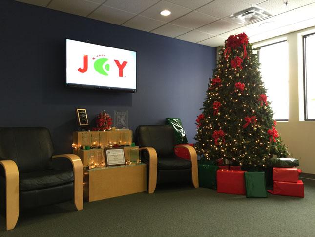 creatacor lobby at christmas time